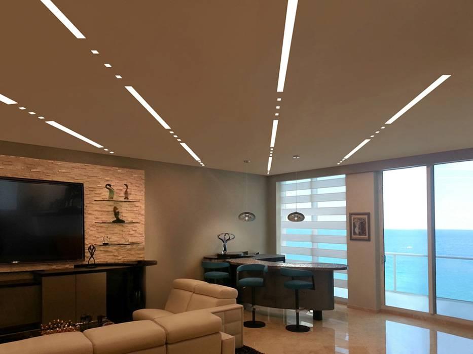 Варианты освещения комнаты с натяжным потолком: способы подсветки, фото