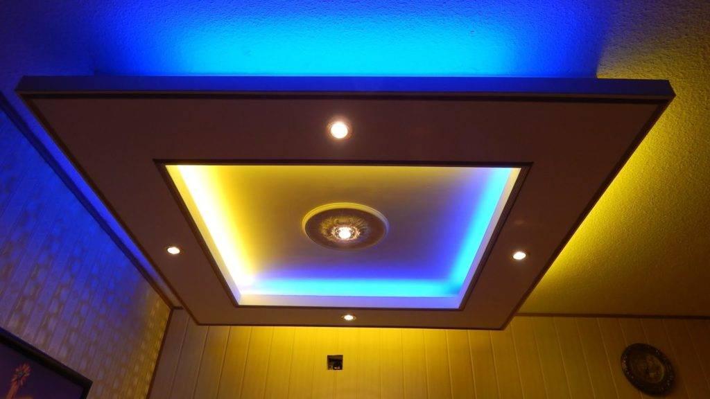 Монтируем подвесной потолок из гипсокартона своими руками с подсветкой: пошагово +видео