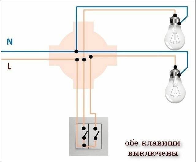 Схема подключения лампочки через выключатель