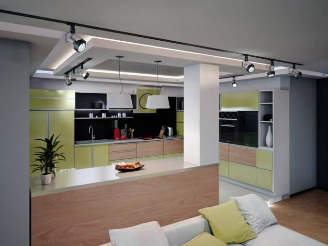 Трековая система освещения в интерьере квартиры