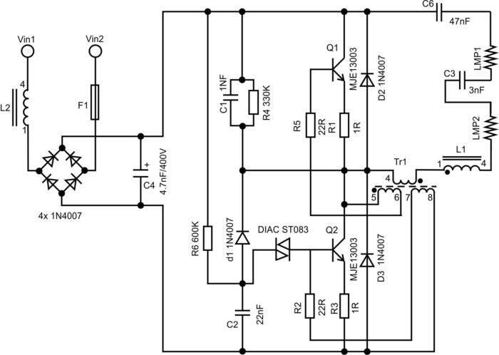 Описание схемы энергосберегающей лампы