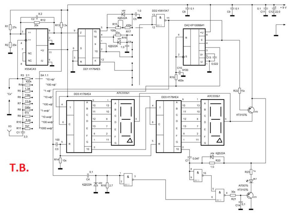 Измеритель емкости и еср конденсаторов на микроконтроллере attiny2313