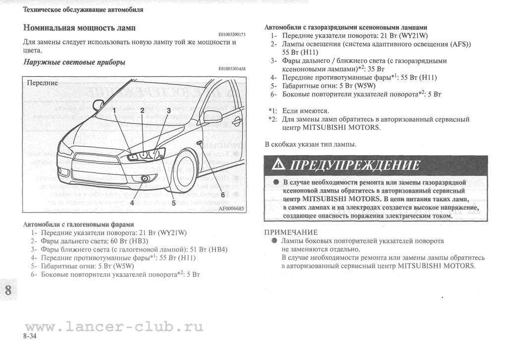 Замена ламп митсубиси лансер 10 (cy), 2007 - 2016
