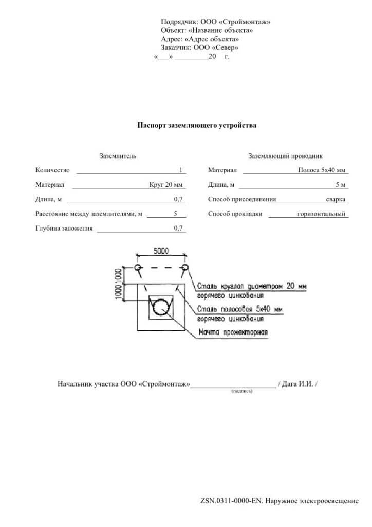Как заполнять паспорт заземляющего устройства. схема заземляющего устройства образец