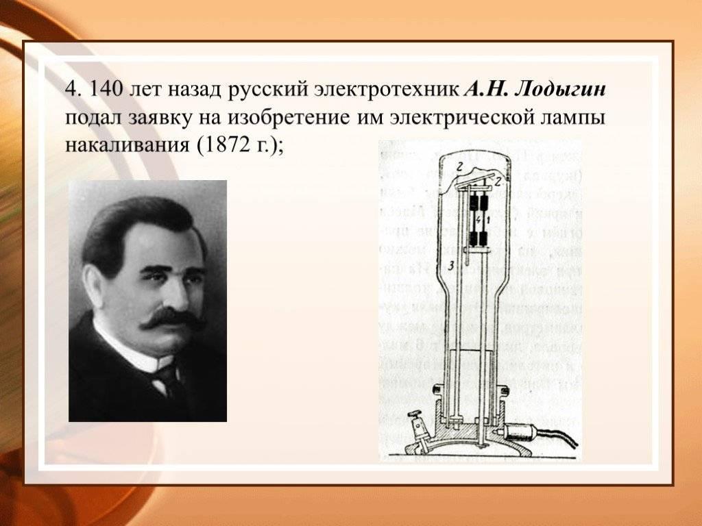 142 года назад русскому ученому был выдан патент на нитевую лампу