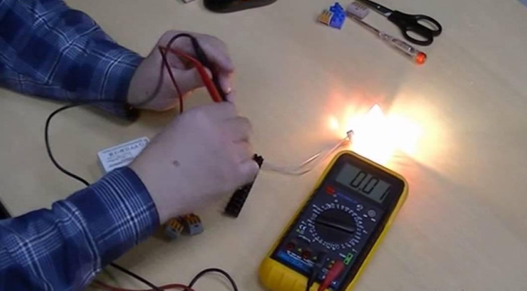 Как прозвонить лампочку мультиметром