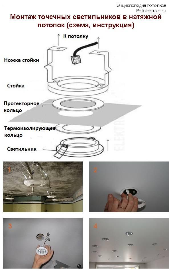 Монтаж точечных светильников в потолок: инструкция по монтажу + советы специалистов
